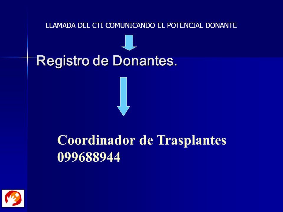 Registro de Donantes. Coordinador de Trasplantes 099688944 LLAMADA DEL CTI COMUNICANDO EL POTENCIAL DONANTE