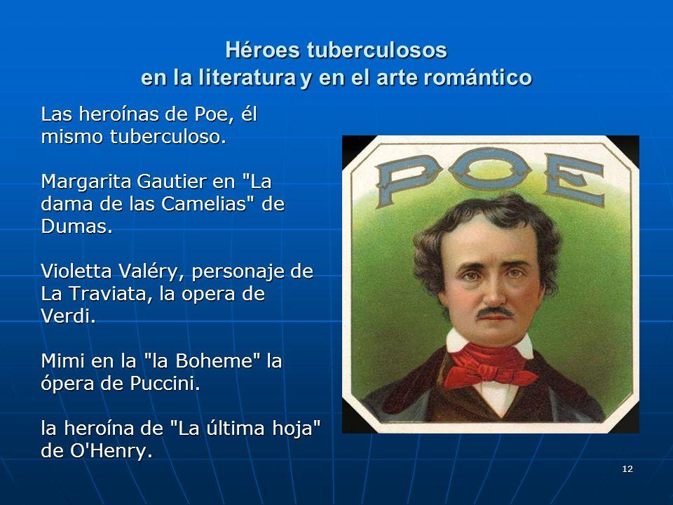 12 Héroes tuberculosos en la literatura y en el arte romántico Las heroínas de Poe, él mismo tuberculoso. Margarita Gautier en