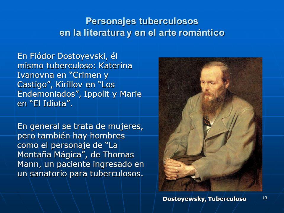 13 Personajes tuberculosos en la literatura y en el arte romántico En Fiódor Dostoyevski, él mismo tuberculoso: Katerina Ivanovna en Crimen y Castigo,