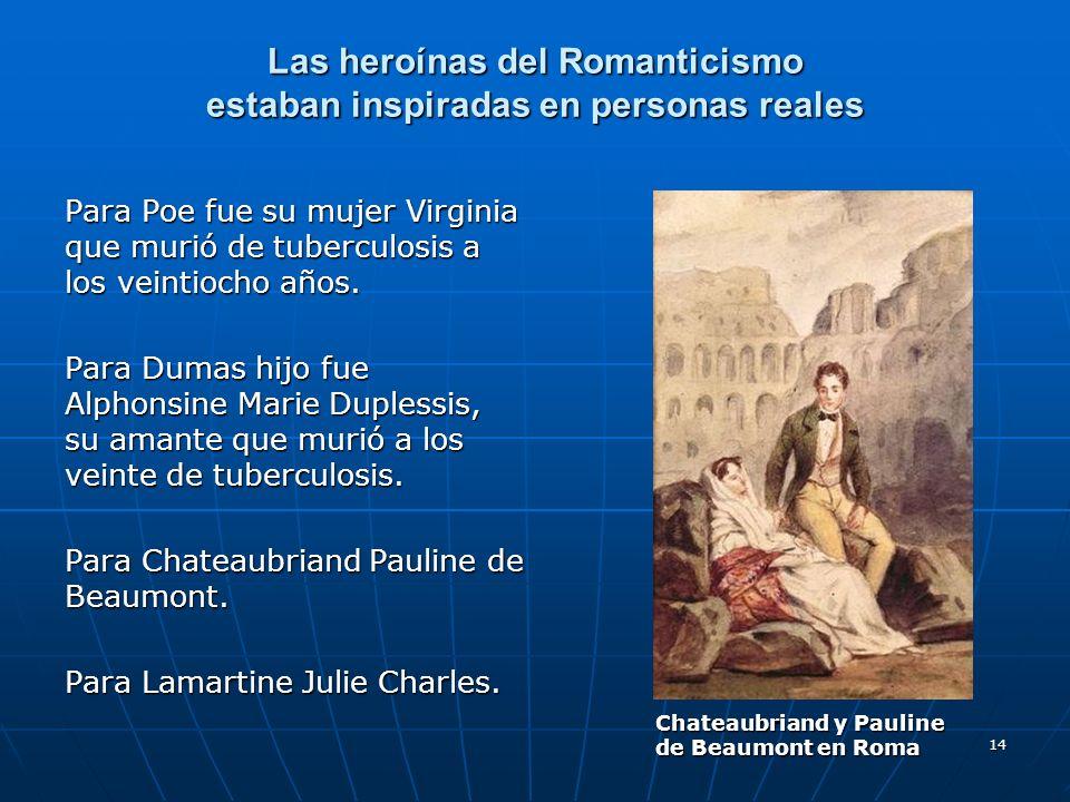 14 Las heroínas del Romanticismo estaban inspiradas en personas reales Para Poe fue su mujer Virginia que murió de tuberculosis a los veintiocho años.