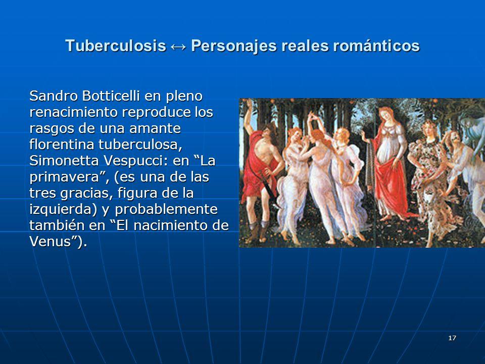 17 Tuberculosis Personajes reales románticos Sandro Botticelli en pleno renacimiento reproduce los rasgos de una amante florentina tuberculosa, Simone