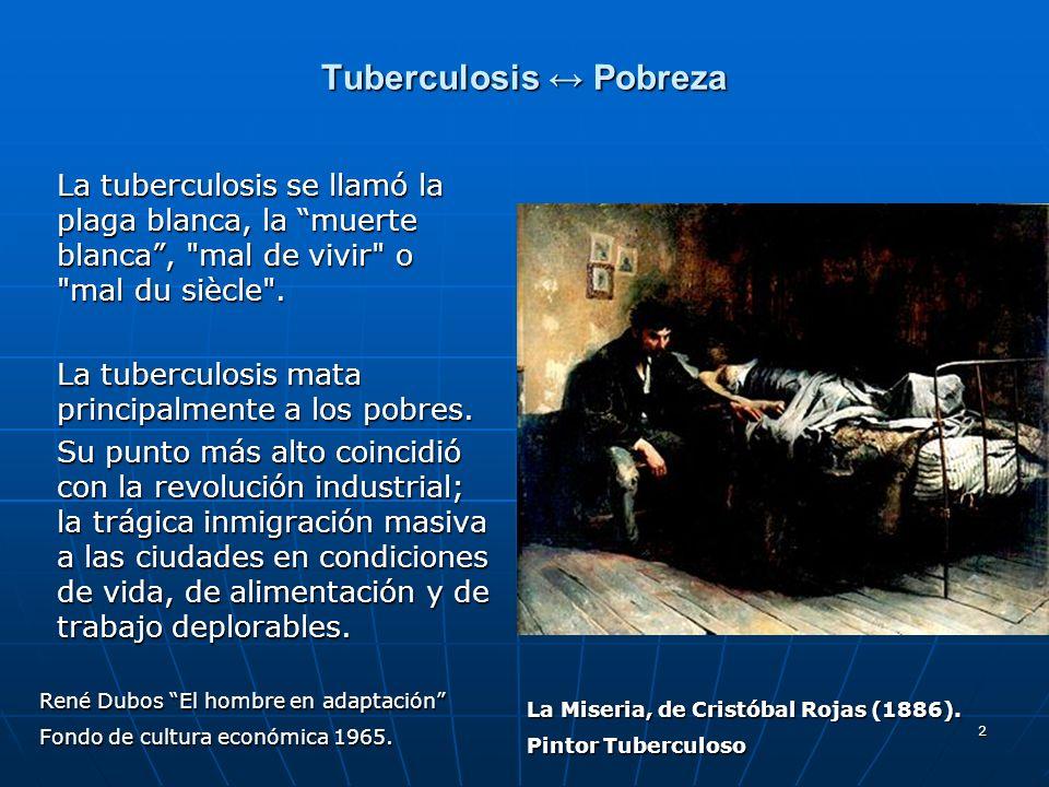 2 Tuberculosis Pobreza La tuberculosis se llamó la plaga blanca, la muerte blanca,
