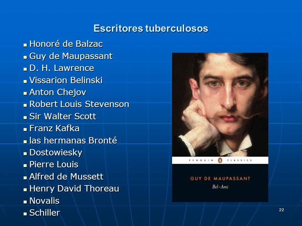 22 Escritores tuberculosos Honoré de Balzac Honoré de Balzac Guy de Maupassant Guy de Maupassant D. H. Lawrence D. H. Lawrence Vissarion Belinski Viss