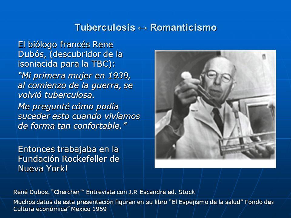 28 Tuberculosis Romanticismo El biólogo francés Rene Dubós, (descubridor de la isoniacida para la TBC): Mi primera mujer en 1939, al comienzo de la gu