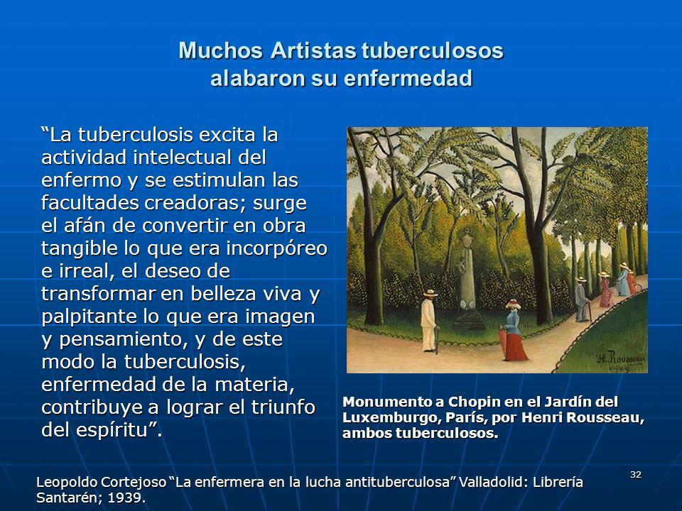 32 Muchos Artistas tuberculosos alabaron su enfermedad La tuberculosis excita la actividad intelectual del enfermo y se estimulan las facultades cread