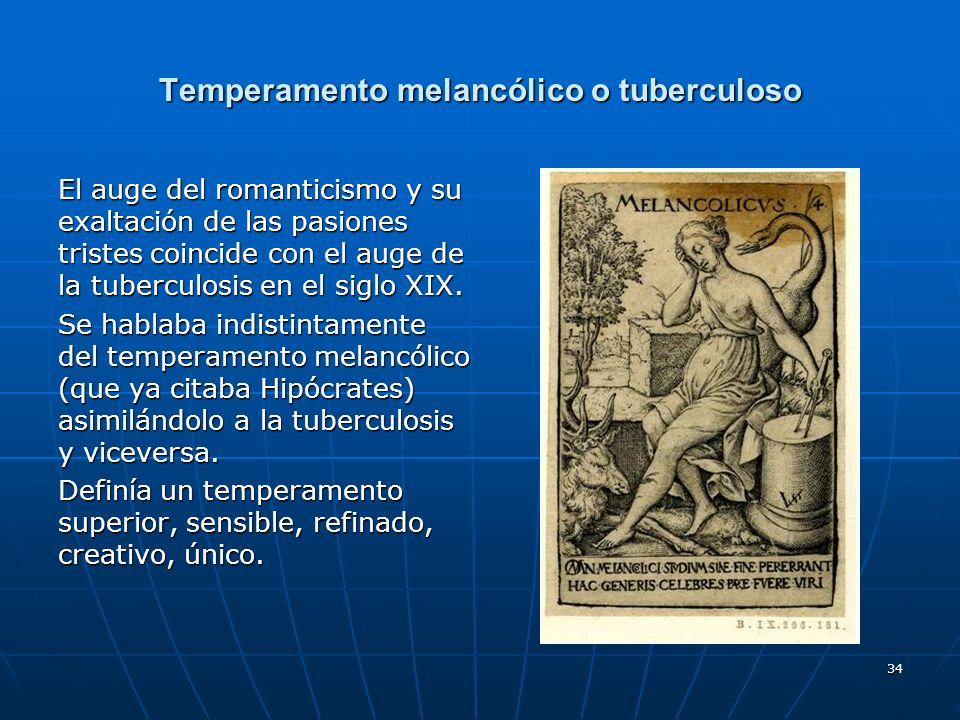 34 Temperamento melancólico o tuberculoso El auge del romanticismo y su exaltación de las pasiones tristes coincide con el auge de la tuberculosis en