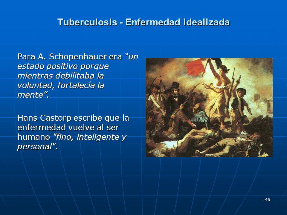 46 Tuberculosis - Enfermedad idealizada Para A. Schopenhauer era un estado positivo porque mientras debilitaba la voluntad, fortalecía la mente. Hans