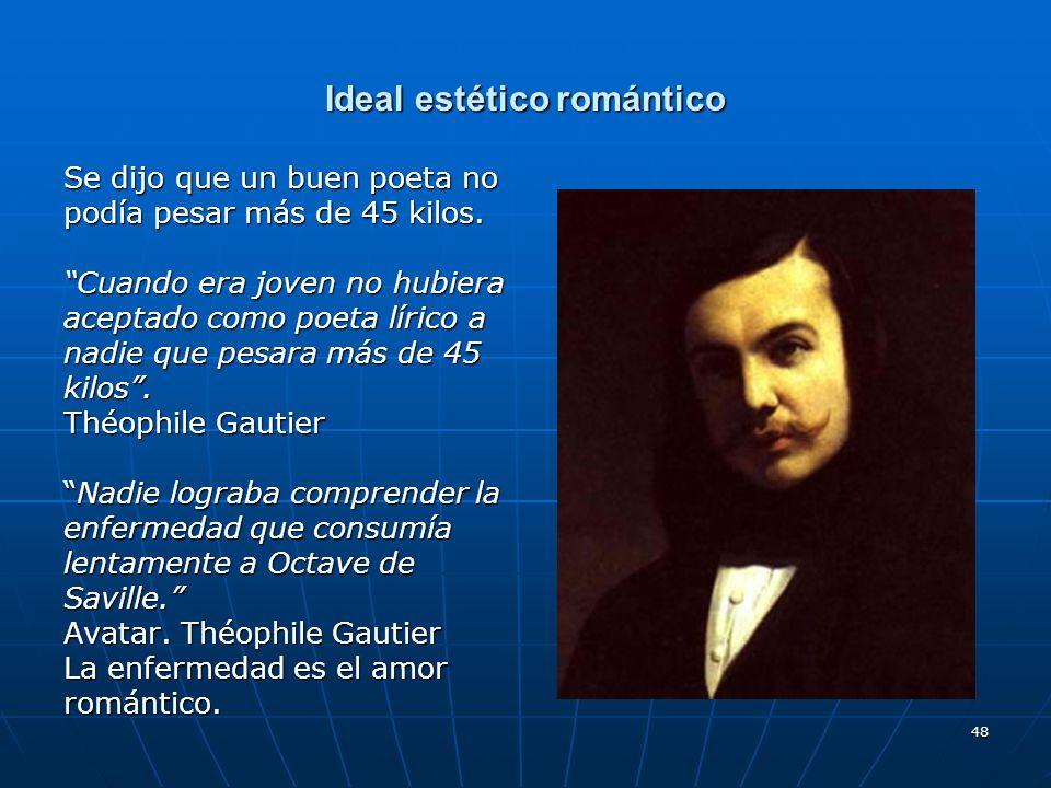 48 Ideal estético romántico Se dijo que un buen poeta no podía pesar más de 45 kilos. Cuando era joven no hubiera aceptado como poeta lírico a nadie q
