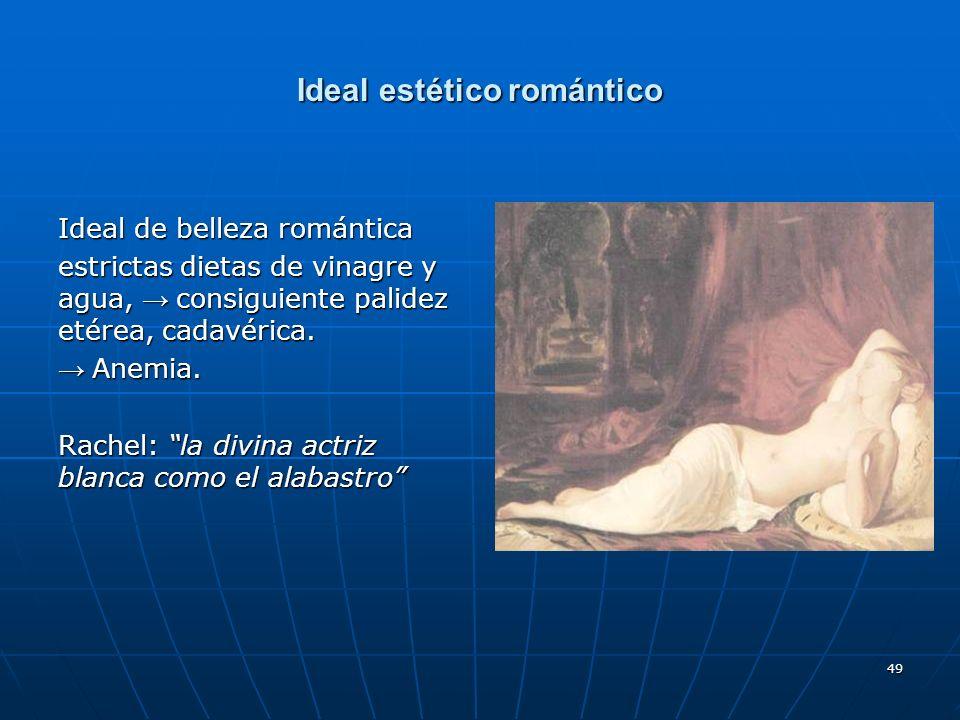 49 Ideal estético romántico Ideal de belleza romántica estrictas dietas de vinagre y agua, consiguiente palidez etérea, cadavérica. Anemia. Anemia. Ra