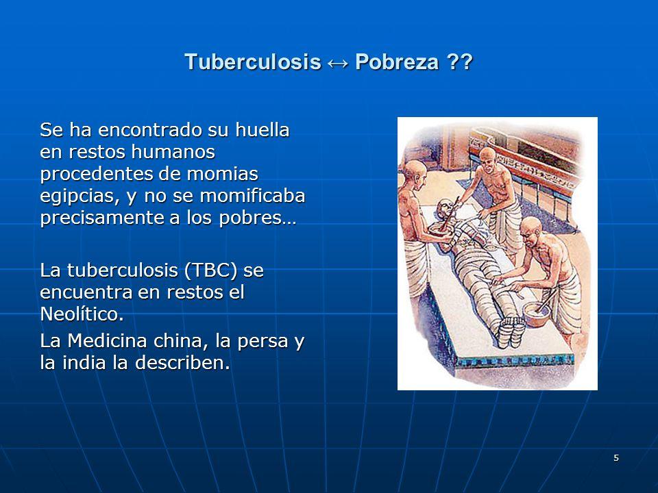 5 Tuberculosis Pobreza ?? Se ha encontrado su huella en restos humanos procedentes de momias egipcias, y no se momificaba precisamente a los pobres… L