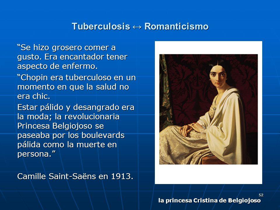 52 Tuberculosis Romanticismo Se hizo grosero comer a gusto. Era encantador tener aspecto de enfermo. Chopin era tuberculoso en un momento en que la sa
