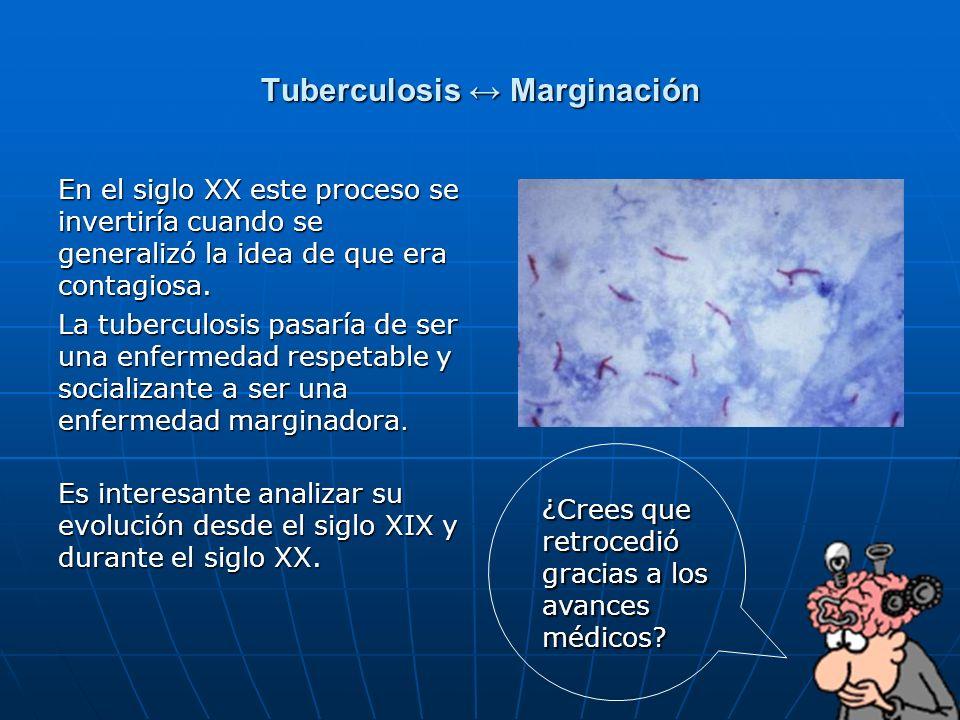 54 Tuberculosis Marginación En el siglo XX este proceso se invertiría cuando se generalizó la idea de que era contagiosa. La tuberculosis pasaría de s