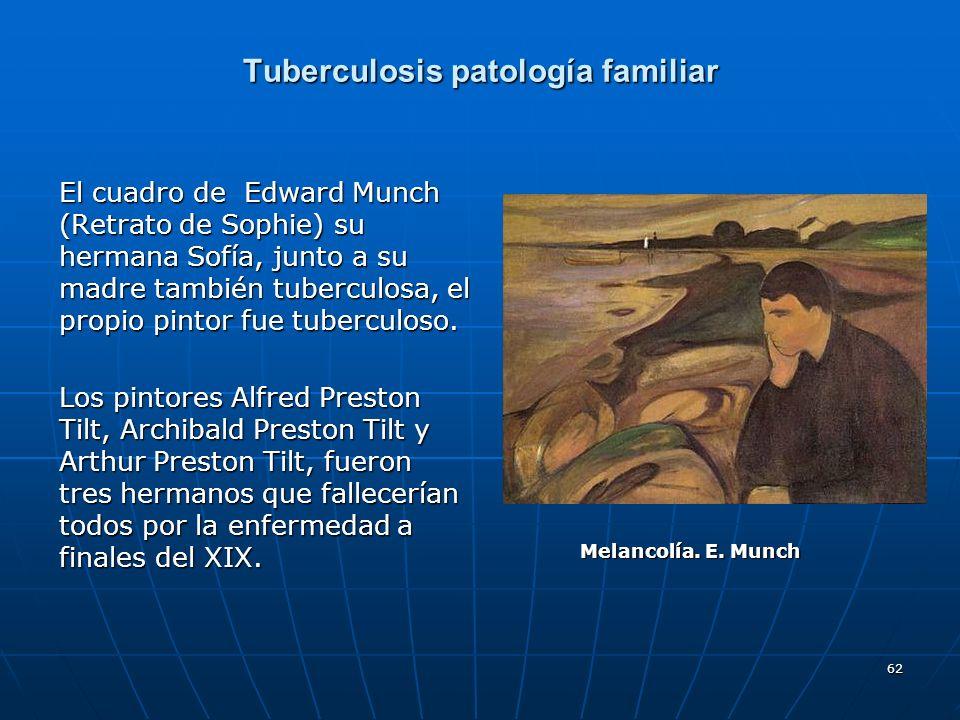 62 Tuberculosis patología familiar El cuadro de Edward Munch (Retrato de Sophie) su hermana Sofía, junto a su madre también tuberculosa, el propio pin