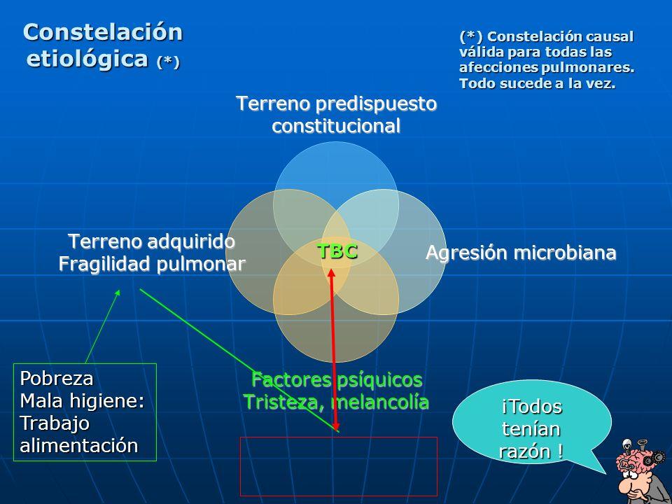 64 TBC Constelación etiológica (*) Pobreza Mala higiene: Trabajoalimentación (*) Constelación causal válida para todas las afecciones pulmonares. Todo