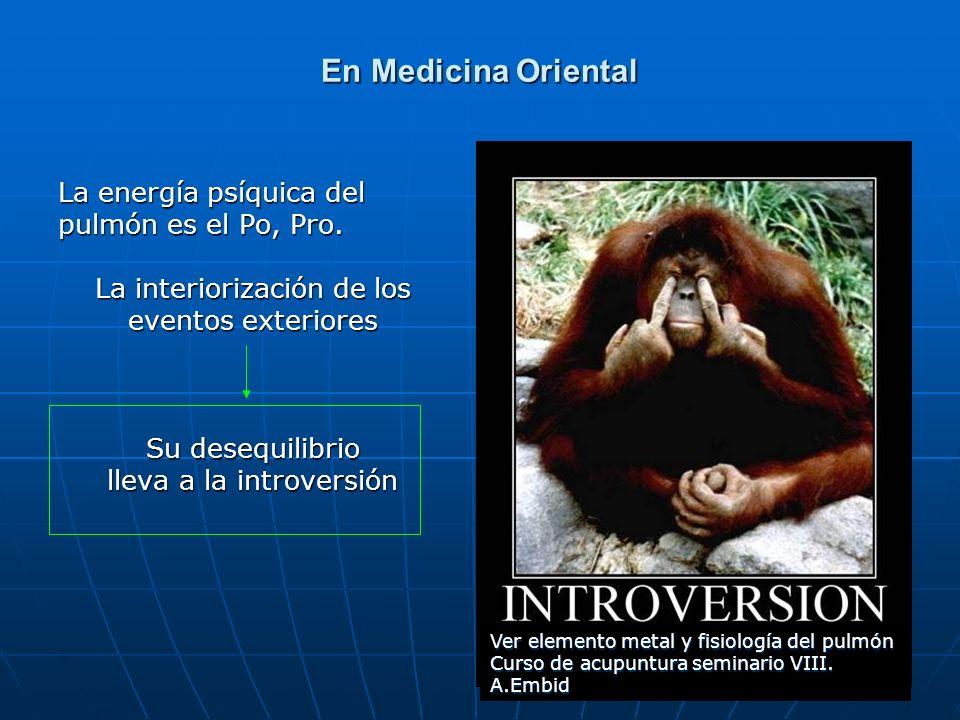 65 En Medicina Oriental La energía psíquica del pulmón es el Po, Pro. La interiorización de los eventos exteriores Su desequilibrio lleva a la introve