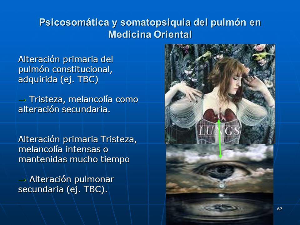 67 Psicosomática y somatopsiquia del pulmón en Medicina Oriental Alteración primaria del pulmón constitucional, adquirida (ej. TBC) Tristeza, melancol