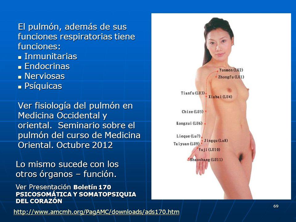 69 El pulmón, además de sus funciones respiratorias tiene funciones: Inmunitarias Inmunitarias Endocrinas Endocrinas Nerviosas Nerviosas Psíquicas Psí