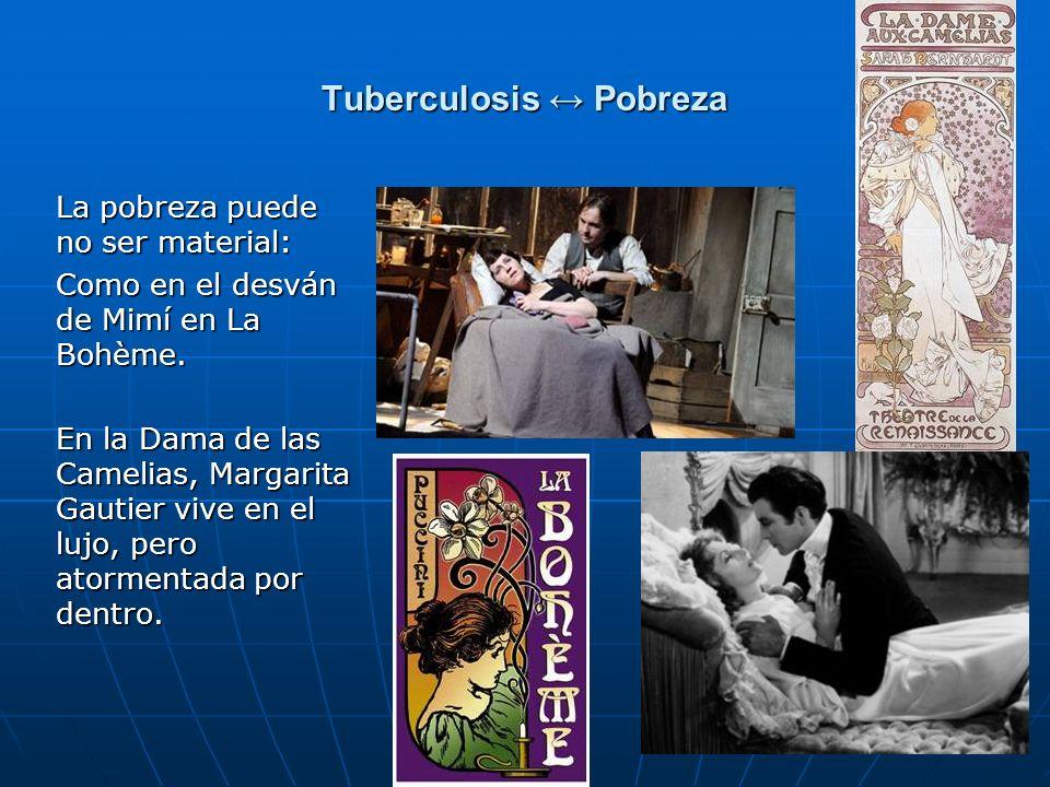7 Tuberculosis Pobreza La pobreza puede no ser material: Como en el desván de Mimí en La Bohème. En la Dama de las Camelias, Margarita Gautier vive en