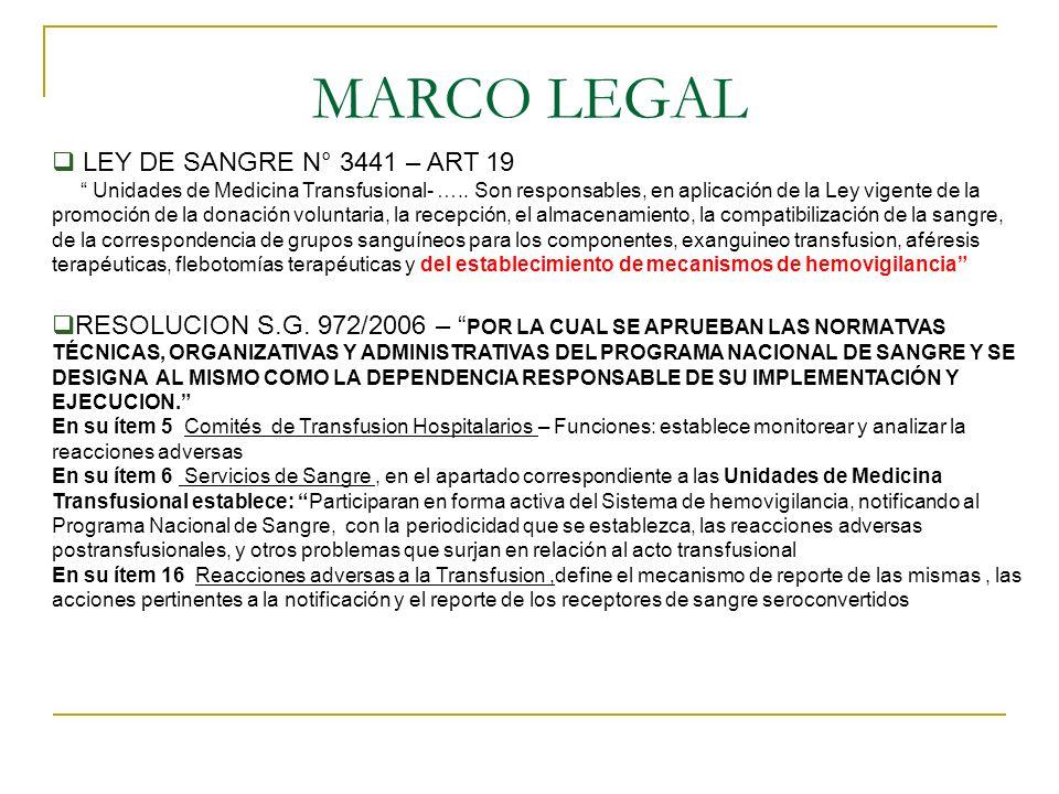 MARCO LEGAL LEY DE SANGRE N° 3441 – ART 19 Unidades de Medicina Transfusional- ….. Son responsables, en aplicación de la Ley vigente de la promoción d