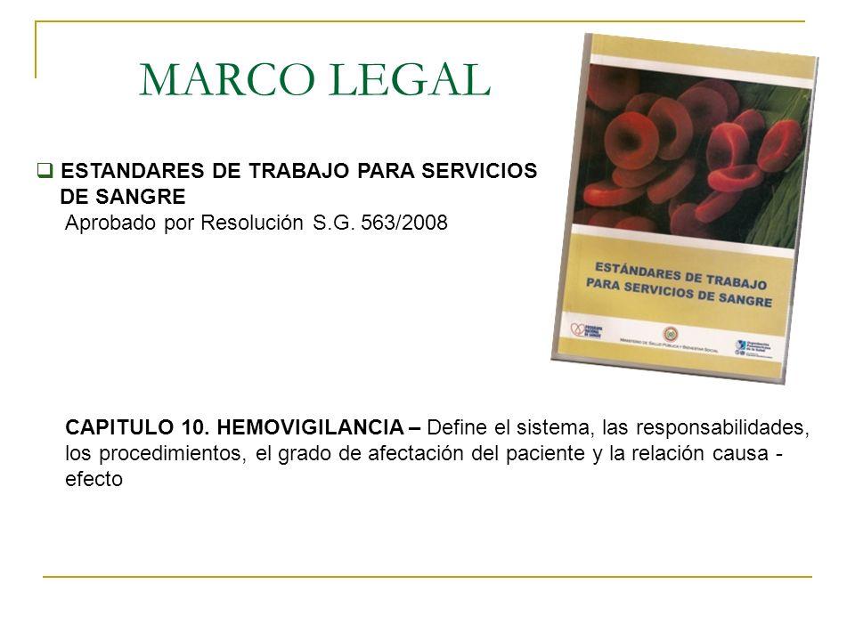MARCO LEGAL ESTANDARES DE TRABAJO PARA SERVICIOS DE SANGRE Aprobado por Resolución S.G. 563/2008 CAPITULO 10. HEMOVIGILANCIA – Define el sistema, las