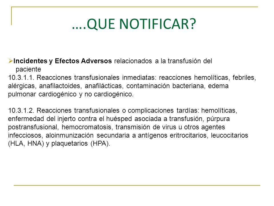 ….QUE NOTIFICAR? Incidentes y Efectos Adversos relacionados a la transfusión del paciente 10.3.1.1. Reacciones transfusionales inmediatas: reacciones