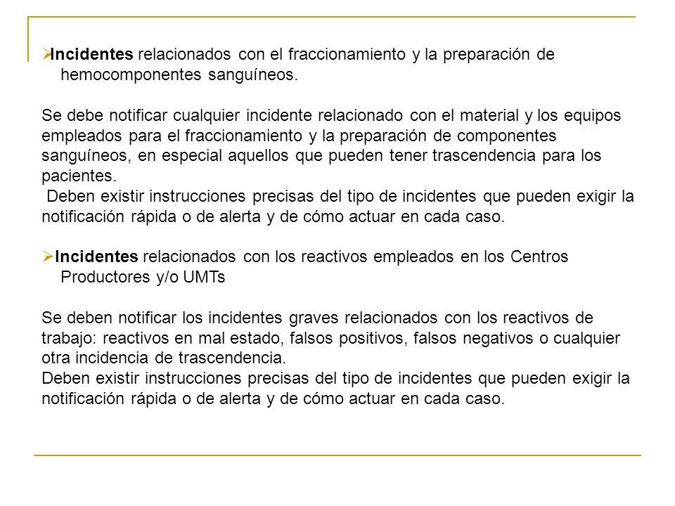 Incidentes relacionados con el fraccionamiento y la preparación de hemocomponentes sanguíneos. Se debe notificar cualquier incidente relacionado con e