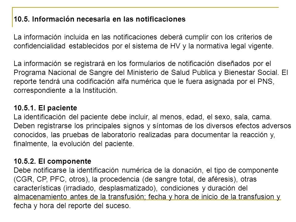 10.5. Información necesaria en las notificaciones La información incluida en las notificaciones deberá cumplir con los criterios de confidencialidad e