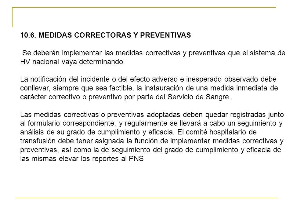 10.6. MEDIDAS CORRECTORAS Y PREVENTIVAS Se deberán implementar las medidas correctivas y preventivas que el sistema de HV nacional vaya determinando.