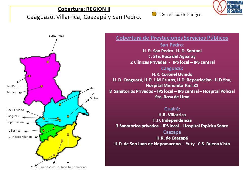 Cobertura: REGION II Caaguazú, Villarrica, Caazapá y San Pedro. = Servicios de Sangre Villarrica C. Independencia Santa Rosa Yuty Buena Vista S. Juan