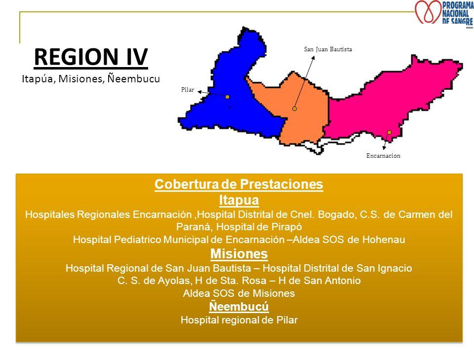 REGION IV Itapúa, Misiones, Ñeembucu Pilar Encarnacion San Juan Bautista Cobertura de Prestaciones Itapua Hospitales Regionales Encarnación,Hospital D