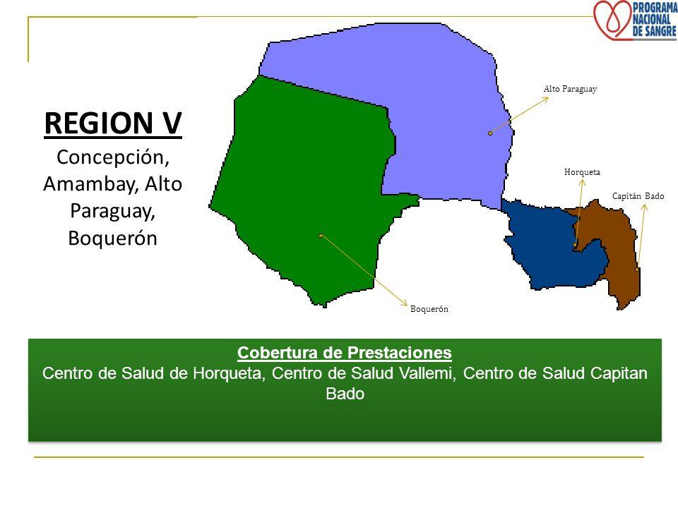 REGION V Concepción, Amambay, Alto Paraguay, Boquerón Cobertura de Prestaciones Centro de Salud de Horqueta, Centro de Salud Vallemi, Centro de Salud