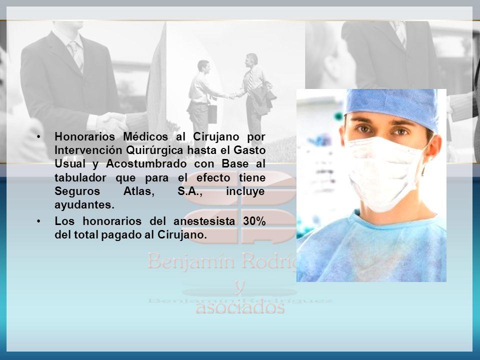 Honorarios Médicos al Cirujano por Intervención Quirúrgica hasta el Gasto Usual y Acostumbrado con Base al tabulador que para el efecto tiene Seguros