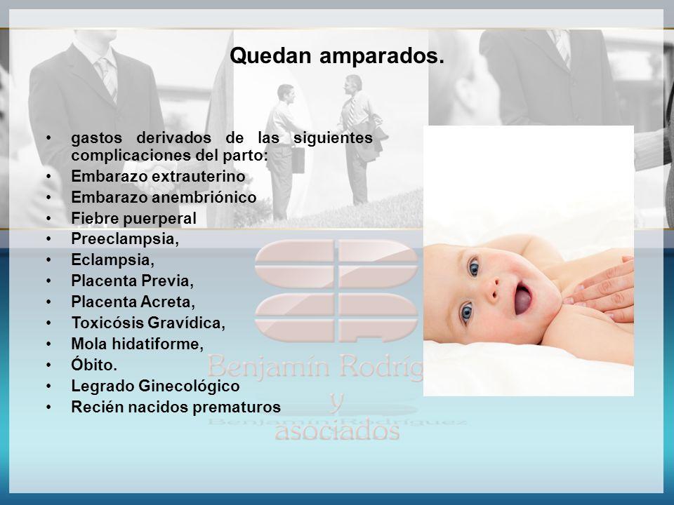 Quedan amparados. gastos derivados de las siguientes complicaciones del parto: Embarazo extrauterino Embarazo anembriónico Fiebre puerperal Preeclamps