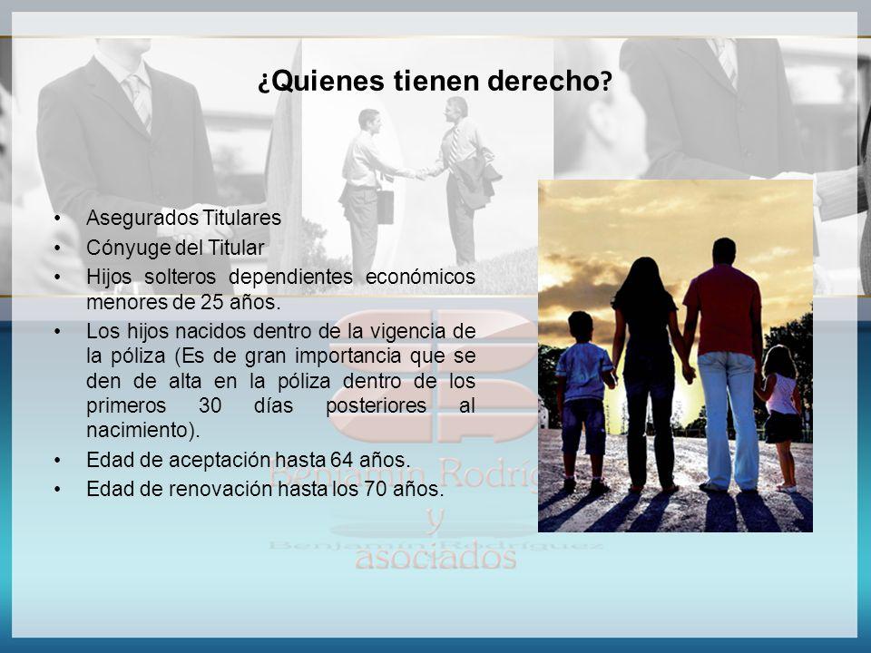¿ Quienes tienen derecho ? Asegurados Titulares Cónyuge del Titular Hijos solteros dependientes económicos menores de 25 años. Los hijos nacidos dentr