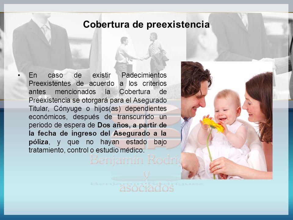 Cobertura de preexistencia En caso de existir Padecimientos Preexistentes de acuerdo a los criterios antes mencionados la Cobertura de Preexistencia s