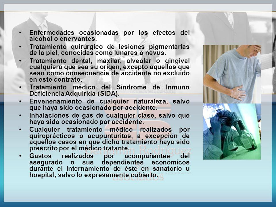 Enfermedades ocasionadas por los efectos del alcohol o enervantes. Tratamiento quirúrgico de lesiones pigmentarias de la piel, conocidas como lunares