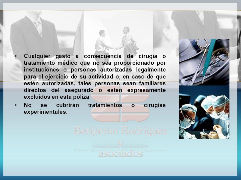 Cualquier gasto a consecuencia de cirugía o tratamiento médico que no sea proporcionado por instituciones o personas autorizadas legalmente para el ej