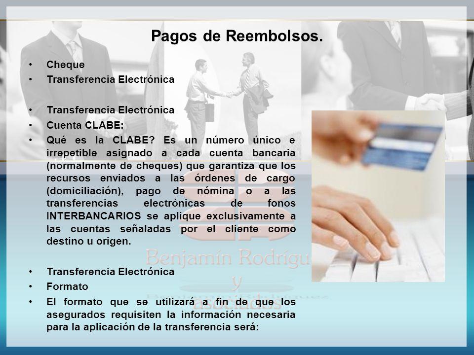 Pagos de Reembolsos. Cheque Transferencia Electrónica Cuenta CLABE: Qué es la CLABE? Es un número único e irrepetible asignado a cada cuenta bancaria