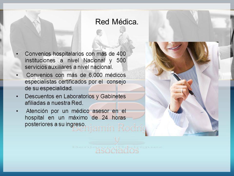 Red Médica. Convenios hospitalarios con más de 400 instituciones a nivel Nacional y 500 servicios auxiliares a nivel nacional. Convenios con más de 6,