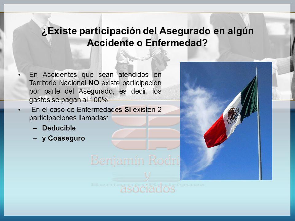 ¿Existe participación del Asegurado en algún Accidente o Enfermedad? En Accidentes que sean atendidos en Territorio Nacional NO existe participación p