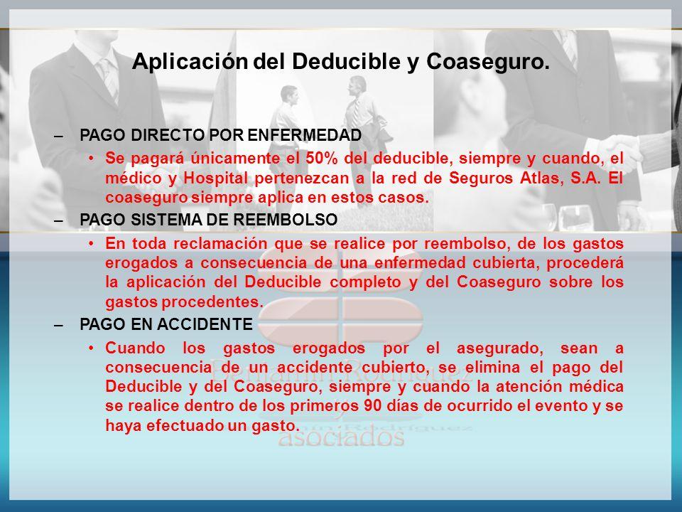 Aplicación del Deducible y Coaseguro. – PAGO DIRECTO POR ENFERMEDAD Se pagará únicamente el 50% del deducible, siempre y cuando, el médico y Hospital