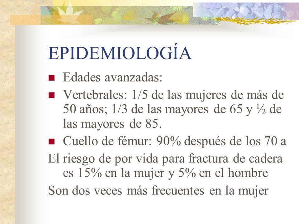 Epidemiología en Argentina Estudios realizados en la Argentina utilizando densitometría axial en 2 sitios anatómicos (columna y cadera), revelan que una de cada cuatro mujeres mayores de 50 años de edad son normales, 2 de cada 4 tienen osteopenia y 1 de cada cuatro tienen osteoporosis en por lo menos un área esquelética (columna lumbar o cuello femoral).