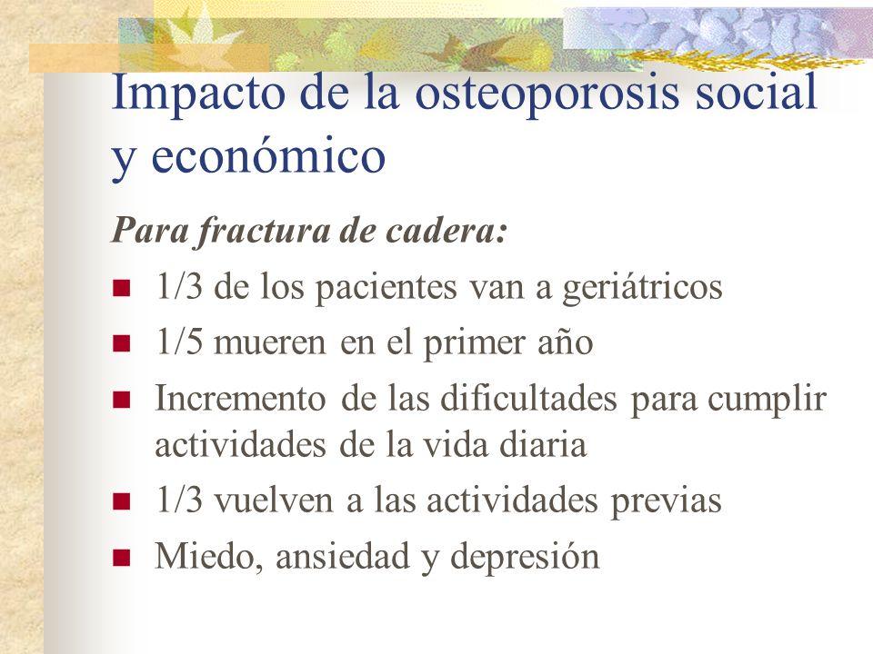 Fracturas de Cadera en Argentina: Ocurren anualmente 298 fracturas por 100.000 mujeres mayores de 50 años 117 fracturas cada 100.000 varones > 50 a.