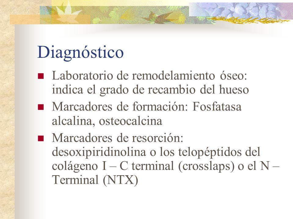 Diagnóstico Laboratorio: Laboratorio de metabolismo mineral: Calcemia, fosfatemia, creatininemia, reabsorción tubular de fósforo, magnesemia, calciuria, magnesiuria Dosaje de PTH y 25-hidroxivitamina D