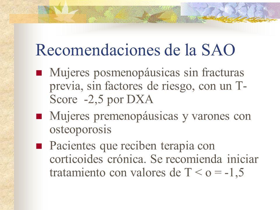 Recomendaciones de la SAO Iniciar tratamiento a: Mujeres posmenopáusicas con una fractura osteoporótica previa Mujeres postmenopáusicas sin fractura previa, con uno o más factores de riesgo (además de la menopausia), y que tengan un T-Score menor o igual a –2 por DXA de una región esquelética axial