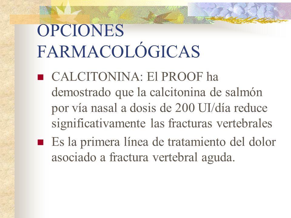OPCIONES FARMACOLÓGICAS NNT: 45 para evitar una fractura vertebral por año y 270 para evitar una fractura de cadera Los bifosfonatos administrados por vía intravenosa deben considerarse como segunda línea de tratamiento de la osteoporosis en mujeres posmenopáusicas