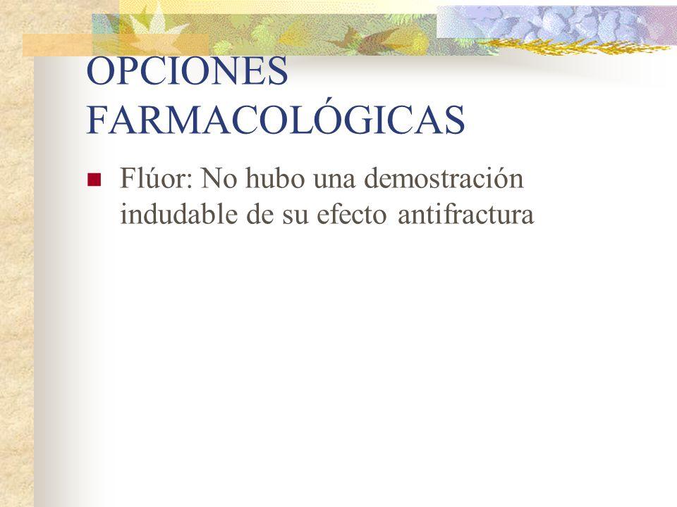 OPCIONES FARMACOLÓGICAS Moduladores selectivos del receptor estrogénico: Raloxifeno Demostró eficacia en prevención de fracturas vertebrales en postmenopáusicas, aunque no todavía en fracturas extravertebrales.