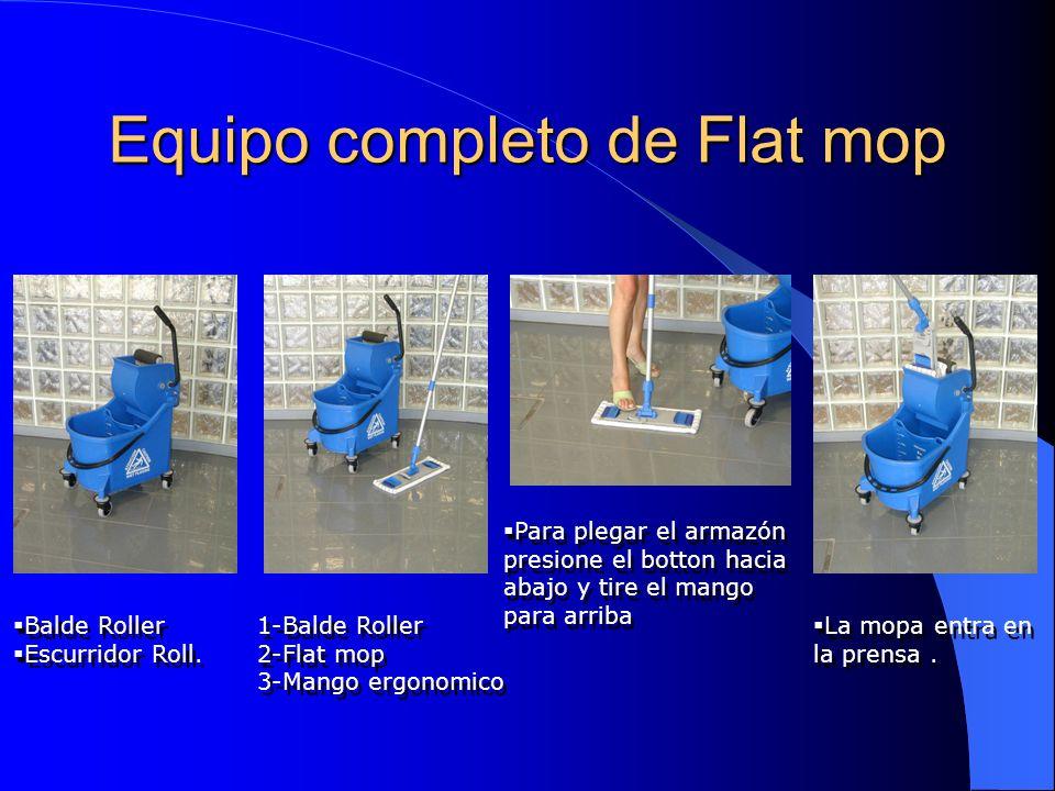 Equipo completo de Flat mop Balde Roller Escurridor Roll. Balde Roller Escurridor Roll. 1-Balde Roller 2-Flat mop 3-Mango ergonomico 1-Balde Roller 2-