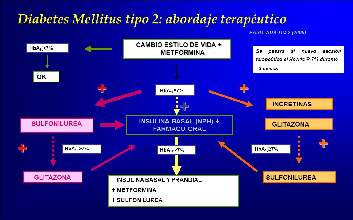 EASD- ADA DM 2 (2006) Diabetes Mellitus tipo 2: abordaje terapéutico CAMBIO ESTILO DE VIDA + METFORMINA SULFONILUREA GLITAZONA HbA 1c 7% GLITAZONA SUL