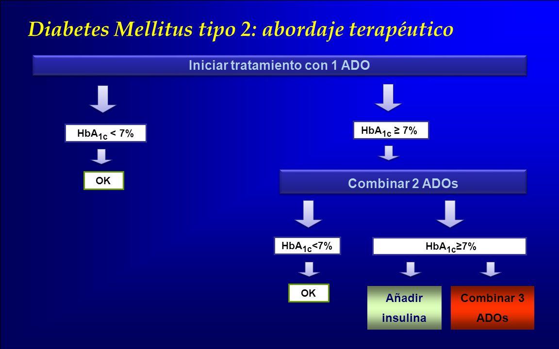 Iniciar tratamiento con 1 ADO Combinar 2 ADOs Añadir insulina Combinar 3 ADOs Diabetes Mellitus tipo 2: abordaje terapéutico HbA 1c < 7% OK HbA 1c 7%